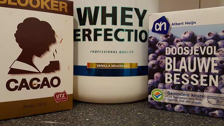 cacao, vanille whey en blauwe bessen