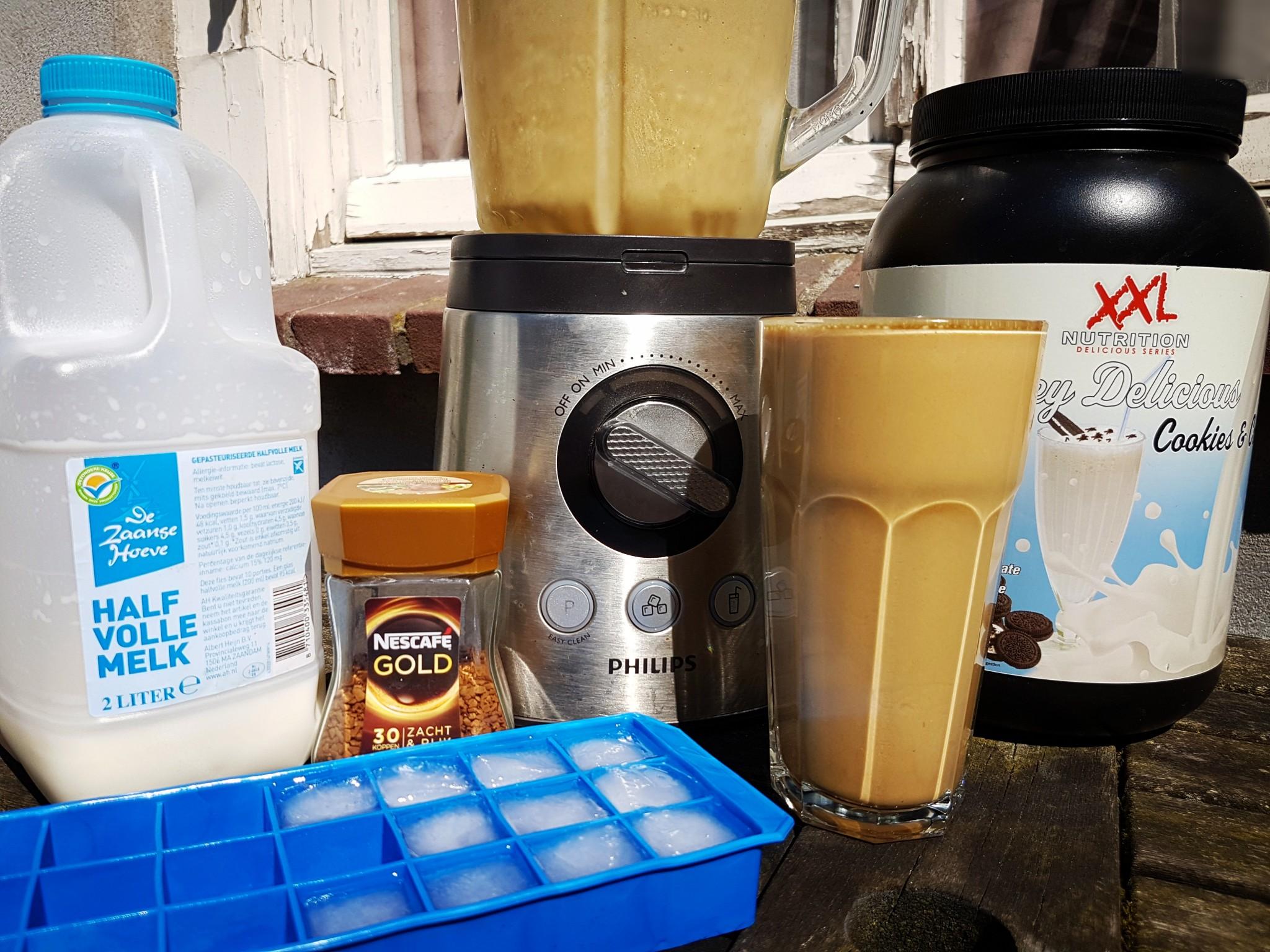 Protein ijskoffie het eindresultaat